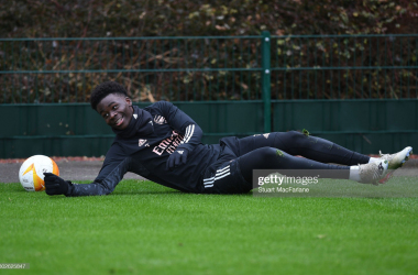 <div>ST ALBANS, ENGLAND - FEBRUARY 17: Bukayo Saka of Arsenal during a training session at London Colney on February 17, 2021 in St Albans, England. (Photo by Stuart MacFarlane/Arsenal FC via Getty Images)</div>