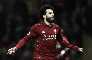 Salah celebra su gol Fuente: Twitter Oficial Liverpool