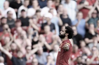 Mohamed Salah celebra uno de sus dos tantos/ Foto: Liverpool FC