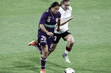 Perth Glory and Sky Blue forward Sam Kerr (left) scores a brace to give her team the 4-2 win. (Source: PerthGlory.com.au)