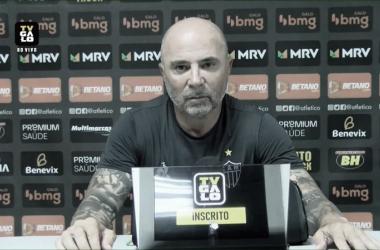 Jorge Sampaoli após o jogo (Foto: Reprodução/TV Galo)