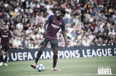 Imagen de archivo. Umtiti contra el PSV en el Camp Nou | Foto: Noelia Déniz - VAVEL