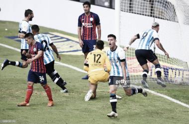 Chancalay festejando el gol luego del cabezazo que no pudo contener Torrico. Foto: Gettyimages
