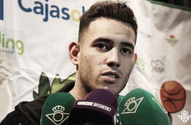 """Sanabria en una comparecencia en los medios tras el acto """"Del Cole al fútbol"""" en enero de 2018Foto: Real Betis Balompié"""