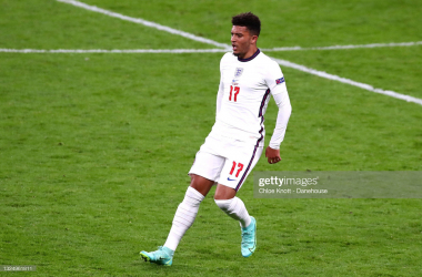 LONDON, ENGLAND - JUNE 22: Jadon Sancho of England during the UEFA Euro 2020 Championship Group D match between Czech Republic and England at Wembley Stadium on June 22, 2021 in London, England. (Photo by Chloe Knott - Danehouse/Getty Images)