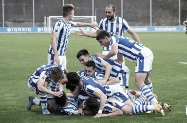 El Sanse celebra el segundo gol, obra de Xeber. || Foto: Real Sociedad