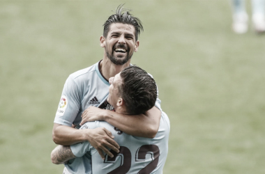 Celebración de Santi Mina y Nolito | Fuente: RC Celta