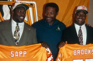 3 of the greatest Tampa Bay Buccaneers of All-Time; Pro Football HoFer's Warren Sapp, Leroy Selmon and Derrick Brooks. Credit: The TB Times