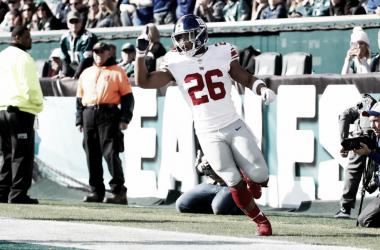 Saquon Barkley festejando su segundo touchdown del partido (foto: www.giants.com)