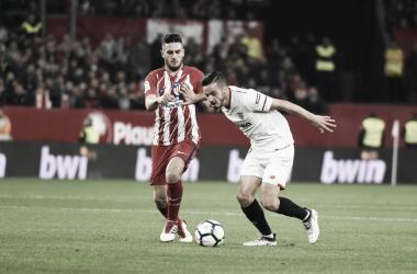 Sarabia en el último encuentro contra Atlético de Madrid | Foto: Sevilla FC