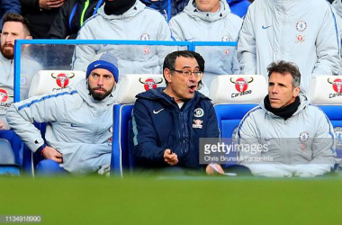 Maurizio Sarri frustrated in the dugout in the 1-1 draw against Wolves. Images courtesy of  Chris Brunskill from Fantasista on Getty Images