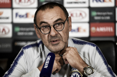 Sarri en rueda de prensa | Foto: Getty Images.