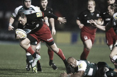 Player-of-the-year, Alex Goode, in action for Saracens, as Leicester Tigers return this weekend in the Premiership playoff semi-finals. (image via BT Sport)