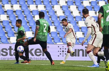 Il destro di Bruno Peres per il momentaneo 1-2. | Foto: Twitter @OfficialASRoma.
