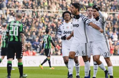 L'esultanza dei bianconeri dopo un gol al Sassuolo (eurosport)