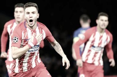 Saúl celebra su gol, minutos después de que la Roma se adelantase. FOTO: ATM