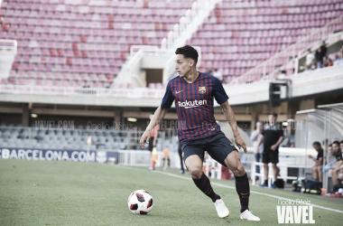 Kike Saverio durante el empate a uno contra el Atlético Baleares. Foto: Noelia Déniz, VAVEL.com
