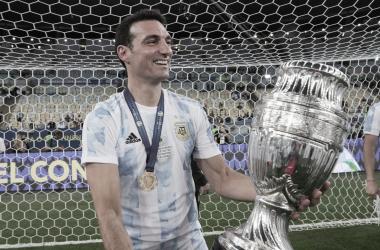 Lionel Scaloni após Brasil 0 a 1 Argentina (CONMEBOL / Divulgação)