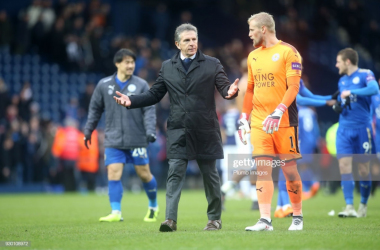 Claude Puel and Kasper Schmeichel | Photo: Getty/ Plumb Images