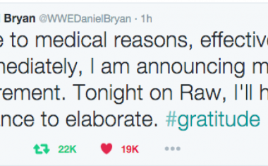 Daniel Bryan Announced his impending retirement via Twitter and fans reacted massively
