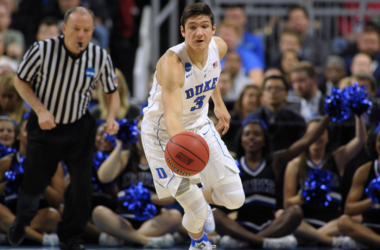Grayson Allen #3 of the Duke Blue Devils dribbles up court against the Yale Bulldogs during the second round of the 2016 NCAA Men's Basketball Tournament at Dunkin' Donuts Center on March 19, 2016 in Providence, Rhode Island. (Photo by Lanc