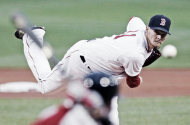 Clay Buchholz deals to the plate at Fenway Park. | AP