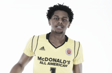 McDonalds All American center Marques Bolden (1) poses for photos on portrait day at the Marriott Hotel. - Brian Spurlock-USA TODAY Sports