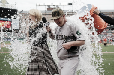 Steven Wright enjoyed a Gatorade bath after tossing his third complete game of the season. | AP