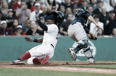 Hanley Ramirez impressed the Fenway Park crowd by scoring from second base on an error by Seattle shortstop Ketel Marte in the eighth inning. | AP