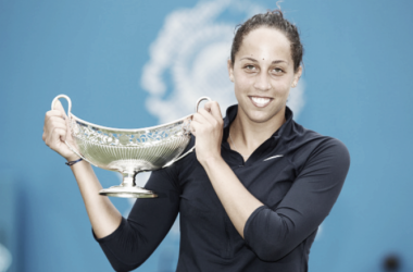 Madison Keys of USA holds the Maud Watson Trophy as she celebrates her victory over Barbora Strycova of Czech Republic in their Women's Singles Final match on day seven of the Aegon Classic at The Edgbaston Priory Club on June 18, 2016 in Birmingham,