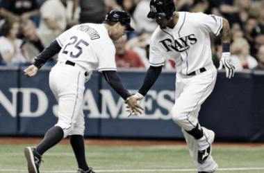 Desmond Jennings celebrates his third-inning home run. | AP