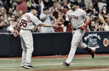 Travis Shaw is congratulated after smoking a second-inning homer. | AP