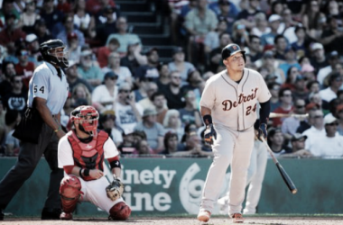 Miguel Cabrera's smacks the go-ahead dinger in the top of the ninth inning for Detroit. | AP Photo - Elise Amendola