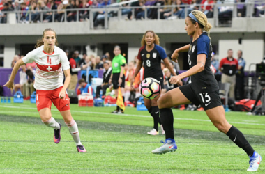 Lynn Williams takes a touch during a friendly against Switzerland (Source: Icon Sportswire)
