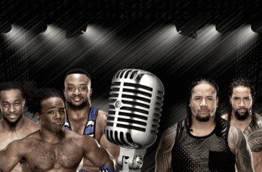 The New Day battle The Usos in a rap battle (image: joel lampkin)