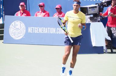 Rafael Nadal celebrates a point during his third-round win. Photo: Noel Alberto
