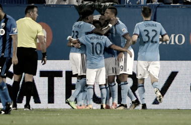 NYCFC celebrate after Jack Harrison's goal. | Photo:Eric Bolte-USA TODAY Sports