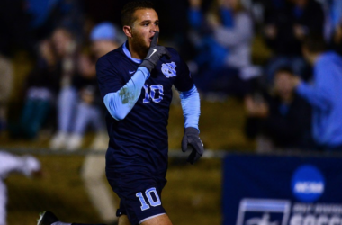 Zach Wright celebrating his goal vs Fordham to send UNC to the 2017 College Cup. | Photo: Jeffrey A.Camarati
