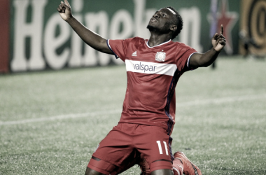 David Accam celebrating a goal during his time with the Chicago Fire | Photo: Reinhold Matay-USA TODAY Sports