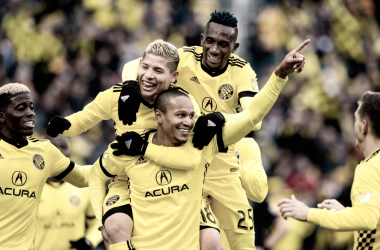 Columbus celebrating their second goal. | Photo: Columbus Crew SC