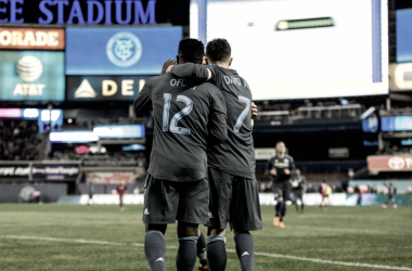 Ebenezer Ofori and David Villa celebrating a goal vs. Real Salt Lake. |Photo: New York City FC