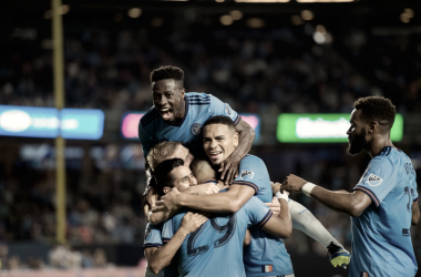 NYCFC celebrating the win last weekend. | Photo: New York City FC
