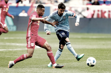 David Villa and Tyler Adams in a Hudson River Derby earlier this season. | Photo: Noah K. Murray-USA TODAY Sports