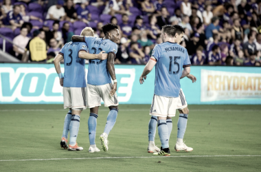 NYCFC celebrating their second goal. | Photo: New York City FC