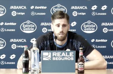 Albentosa, en rueda de prensa. Imagen: R.C.Deportivo