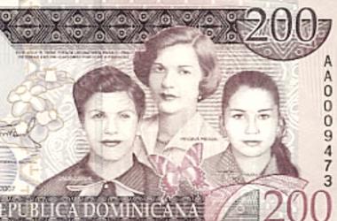 El 2 de octubre de 2007 se emitió un billete de 200 pesos en motivo del asesinato de las hermanas Mirabal.| Imagen: Banco central de la República Dominicana.