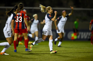 North Carolina midfielder McCall Zerboni scored a brace in the 4-2 win over the Washington Spirit at the Maryland Soccerplex. | Photo: @TheNCCourage