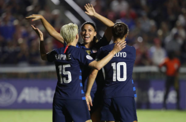 Megan Rapinoe, Alex Morgan, and Carli Lloyd (left to right) combined for four goals as the United States downed Mexico at the CONCACAF Women's Tournament. | Photo: Streeter Lecka - Getty Images