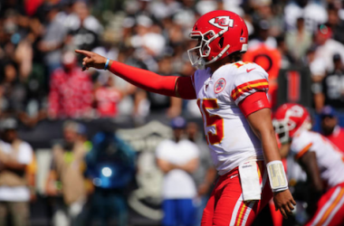 Patrick Mahomes in action against the Oakland Raiders (Photo: Daniel Shirey)
