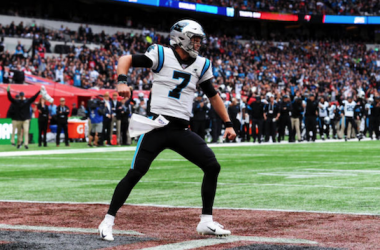 Kyle Allen celebrating a touchdown for the Panthers (Photo: Alex Burstow)